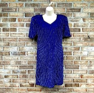 Vintage¡ Mark & John by Sam》100% Silk Sequin Dress